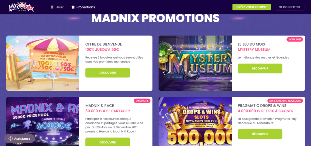 Madnix casino promotions gratuites